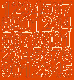 Cyfry samoprzylepne 4 cm pomarańczowy z połyskiem