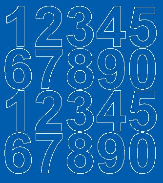 Cyfry samoprzylepne 5 cm niebieski z połyskiem