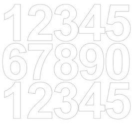Cyfry samoprzylepne 6 cm białe z połyskiem