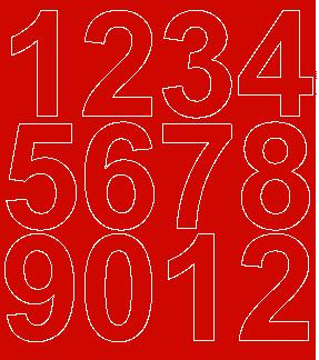 Cyfry samoprzylepne 7 cm czerwone z połyskiem