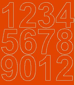 Cyfry samoprzylepne 7 cm pomarańczowy z połyskiem
