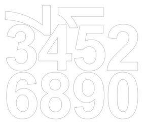 Cyfry samoprzylepne 8 cm białe z połyskiem
