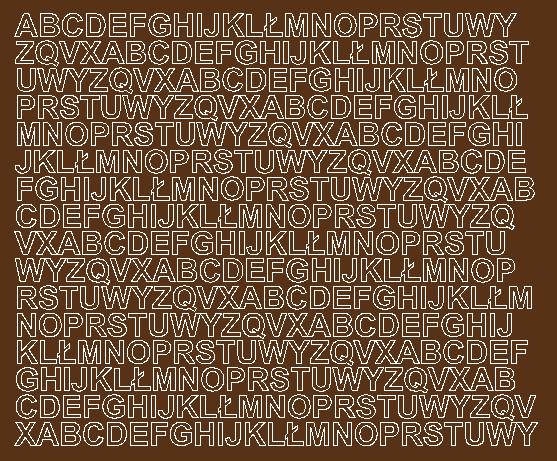 Litery samoprzylepne 1 cm brązowy z połyskiem