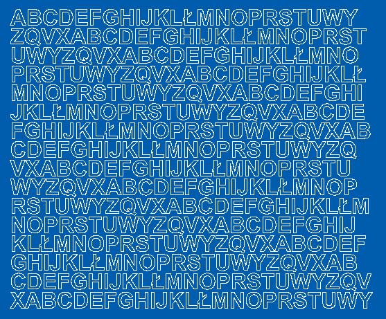 Litery samoprzylepne 1 cm niebieski matowy