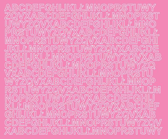 Litery samoprzylepne 1 cm różowy z połyskiem