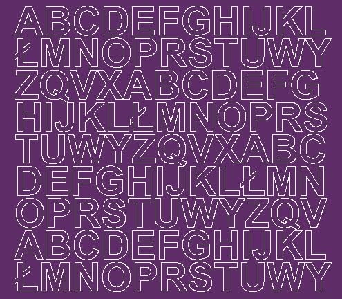 Litery samoprzylepne 2 cm fioletowy z połyskiem
