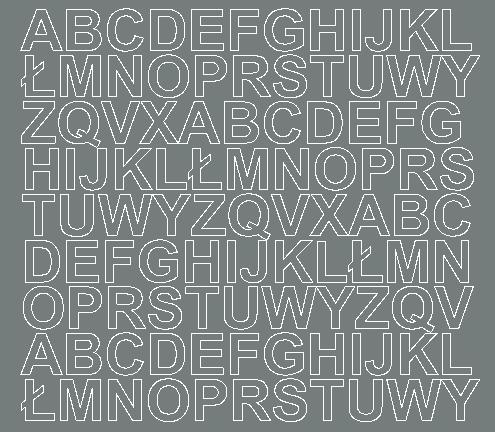Litery samoprzylepne 2 cm szary matowy