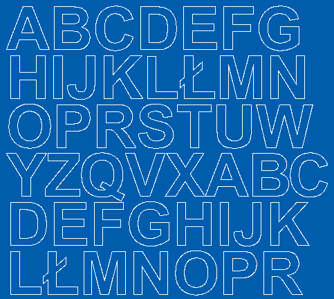 Litery samoprzylepne 3 cm niebieski z połyskiem