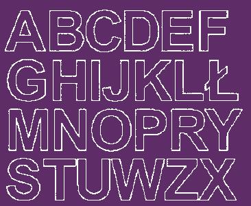 Litery samoprzylepne 4 cm fioletowy z połyskiem