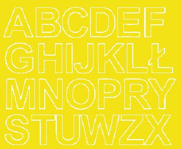 Litery samoprzylepne 4 cm żółty z połyskiem