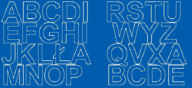 Litery samoprzylepne 5 cm niebieski z połyskiem