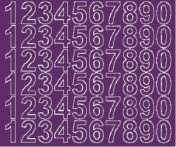 Cyfry samoprzylepne 3 cm fioletowy z połyskiem