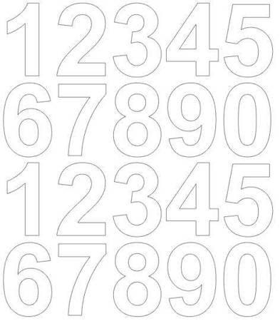 Cyfry samoprzylepne 5 cm białe z połyskiem