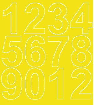 Cyfry samoprzylepne 7 cm żółty z połyskiem