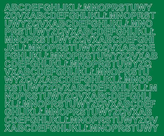 Litery samoprzylepne 1 cm zielone matowy