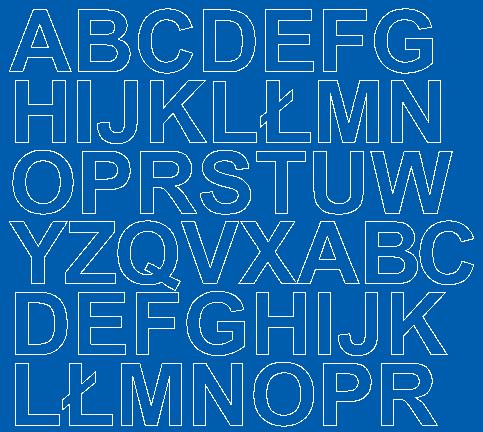 Litery samoprzylepne 3 cm niebieski matowy